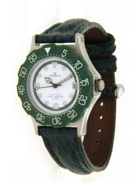 Ρολόι ανδρικό με λευκό καντράν και πράσινο στεφάνι περιστρεφόμενο αδιάβροχο 100 μέτρα για σκληρή χρήση 5 χρόνια εγγύηση