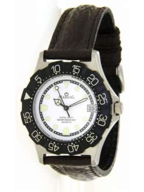Ρολόι ανδρικό με λευκό καντράν και μαύρο στεφάνι περιστρεφόμενο αδιάβροχο 100 μέτρα για σκληρή χρήση 5 χρόνια εγγύηση