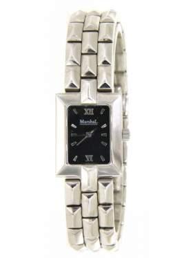 Ρολόι γυναικείο με μαύρο καντράν και ασημί δείκτες