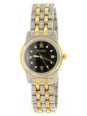 Ρολόι γυναικείο με μαύρο καντράν και χρυσούς δείκτες