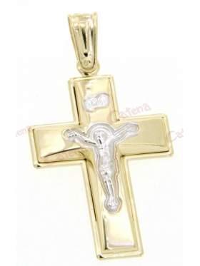 Σταυρός χρυσός με λευκόχρυσο Εσταυρωμένο στο κέντρο