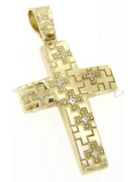 Σταυρός χρυσός με σκάλισμα σε σχέδιο μικρά σταυρουδάκια και άσπρες πέτρες ζιργκόν