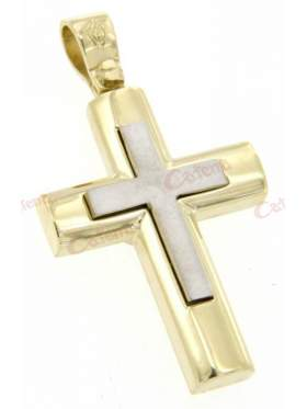 Σταυρός χρυσός με λευκόχρυσο στο κέντρο