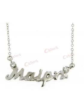 Ασημένιο όνομα Μαίρη επιπλατινωμένο με πέτρες ζιργκόν σε χρώμα λευκό με αλυσίδα