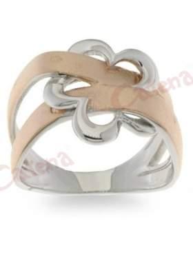 Ασημένιο δαχτυλίδι επιπλατινωμένο και επιχρύσωμα ροζ σε ελεύθερο σχέδιο