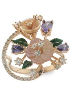 Δαχτυλίδι ασημένιο με ροζ με άσπρες πέτρες ζιργκόν αμέθυστο πράσινο σμάλτο και φίλντισι ροζ