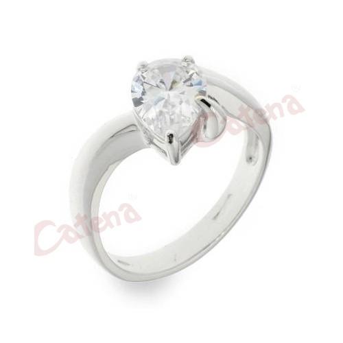 Δαχτυλίδι ασημένιο επιπλατινωμένο σε χρώμα λευκό μονόπετρο με πέτρα σχήμα  καρδιά. › e81890a94ee