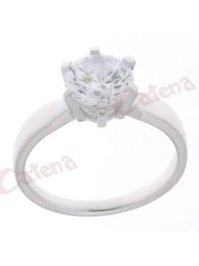 Δαχτυλίδι ασημένιο επιπλατινωμένο με άσπρη πέτρα ζιργκόν σε σχέδιο μονόπετρο