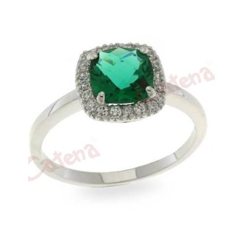 Δαχτυλίδι ασημένιο επιπλατινωμένο με πράσινη πέτρα ζιργκόν. › 5bc71b35232