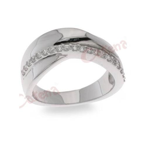 Κάντε κλικ για μεγέθυνση. Δαχτυλίδι ασημένιο επιπλατινωμένο με άσπρες πέτρες  ζιργκόν 3abc4c3d380