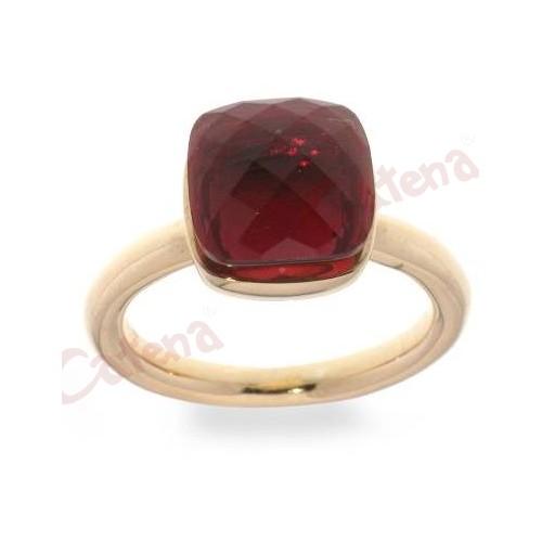 Δαχτυλίδι ασημένιοεπιπλατινωμένο με κόκκινη πέτρα ζιργκόν και ροζ χρυσό. › e4cb150c23e
