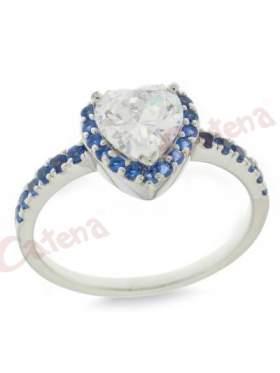 Δαχτυλίδι  ασημένιο επιπλατινωμένο με λευκές ζιργκόν και μπλέ στο κέντρο σχηματίζει καρδιά