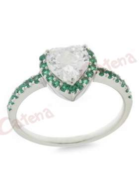 Δαχτυλίδι  ασημένιο επιπλατινωμένο με λευκές ζιργκόν και πράσινες στο κέντρο σχηματίζει καρδιά