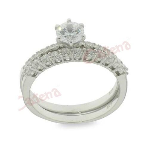 Δαχτυλίδι ασημένιο επιπλατινωμένο διπλό με ζιργκόν άσπρες πέτρες σε σχέδιο  μονόπετρο και μισόβερο. › fb087a40070