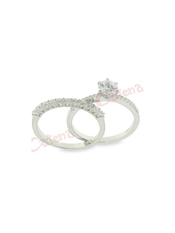 Δαχτυλίδι ασημένιο επιπλατινωμένο διπλό με ζιργκόν άσπρες πέτρες σε σχέδιο  μονόπετρο και μισόβερο. › b93fd38a6cb