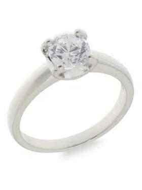Ασημένιο δαχτυλίδι επιπλατινωμένο με ζιργκόν λευκή πέτρα σε σχέδιο μονόπετρο