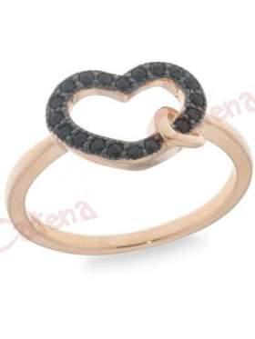 Δαχτυλίδι ασημένιο με ροζ επιχρύσωμα με μαύρες πέτρες ζιργκόν σε σχέδιο καρδιά