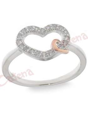 Ασημένιο δαχτυλίδι δίχρωμο με άσπρες πέτρες ζιργκόν σε σχέδιο καρδιά