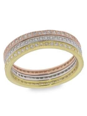 Δακτυλίδι ασημένιο με τα τρία χρώματα λευκό κίτρινο ροζ δεν είναι ενωμένα είναι ξεχωριστά σε σχέδιο ολόβερο