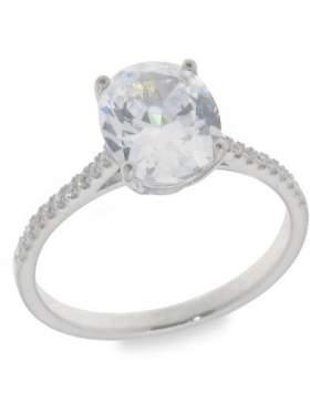 Ασημένιο δακτυλίδι επιπλατινωμένο με άσπρες πέτρες ζιργκόν