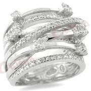 Δαχτυλίδι ασημένιο με στρογγυλές πέτρες ζιργκόν σε χρώμα λευκό με φινίρισμα  λουστρέ επιπλατινωμένο ef4d2218e66