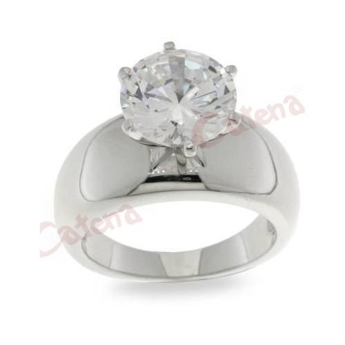 Δαχτυλίδι ασημένιο επιπλατινωμένο με άσπρη πέτρα ζιργκόν σε σχέδιο μονόπετρο 938c278db20