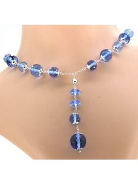 Κολιέ ασημένιο με αλυσίδα επιπλατιινωμένο με γαλάζιες πέτρες ζιργκόν