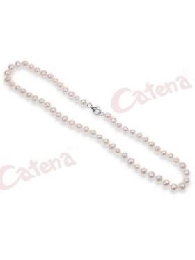 Κολιέ από πέρλες λευκές προς ελαφρύ ροζ και ασημένιο κούμπωμα