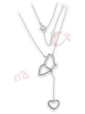 Μενταγιόν ασημένιο με αλυσίδα στολισμένο με άσπρες πέτρες ζιργκόν με σχέδιο καρδιά και πεταλούδα