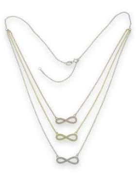 Κολιέ ασημένιο με τρία χρώματα με άσπρες πέτρες ζιργκόν σε σχέδιο το άπειρο