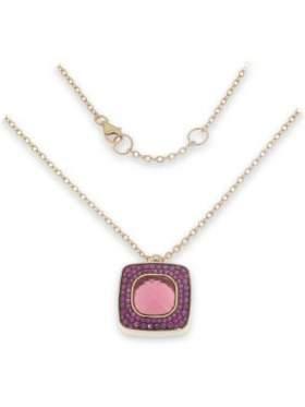 Μενταγιόν ασημένιο επιχρυσωμένο ροζ με αλυσίδα και ροζ πέτρες ζιργκόν