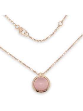 Μενταγιόν ασημένιο επιχρυσωμένο ροζ με αλυσίδα και ροζ πέτρα