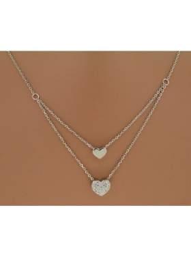 Μενταγιόν ασημένιο επιπλατιvωμένο με διπλή αλυσίδα με άσπρες πέτρες ζιργκόν σε σχέδιο 2 καρδιές