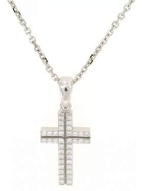 Σταυρός ασημένιος με αλυσίδα επιπλατινωμένος και άσπρες πέτρες ζιργκόν