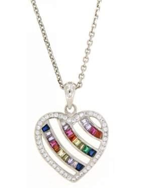 Μενταγιόν ασημένιο επιπλατιvωμένο με χρωματιστές πέτρες ζιργκόν σε σχέδιο καρδιά