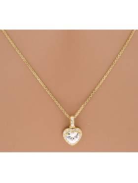 Μενταγιόν ασημένιο επιχρυσωμένο με αλυσίδα και άσπρες πέτρες ζιργκόν σε σχέδιο καρδιά
