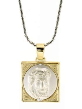 Μενταγιόν ασημένιο με κίτρινο επιχρύσωμα διπλής όψεως με το Χριστό και από την άλλη Κωσταντινάτο
