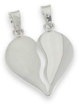 Μενταγιόν ασημένιο επιπλατινωμένο σε σχέδιο διπλή καρδιά ματ και γυαλιστερή κόβετε στα δύο