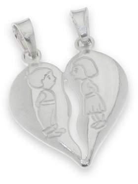 Μενταγιόν ασημένιο επιπλατινωμένο σε σχέδιο καρδιά διπλή που σπάει με αγόρι κορίτσι