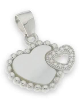 Μενταγιόν ασημένιο επιπλατινωμένο με άσπρες πέτρες ζιργκόν και φίλντισι σε σχέδιο καρδιά