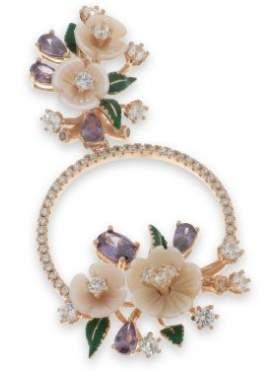 Μενταγιόν ασημένιο με ροζ επιχρύσωμα σε σχέδιο λουλούδι και με άσπρες πράσινες αμέθυστο πέτρες και ροζ φίλντισι