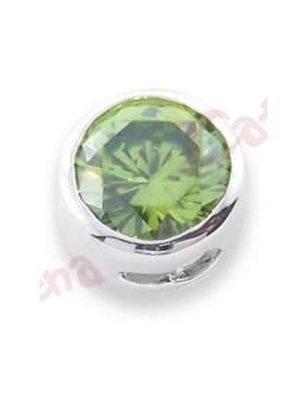 Μενταγιόν ασημένιο επιπλατινωμένο με πράσινη πέτρα