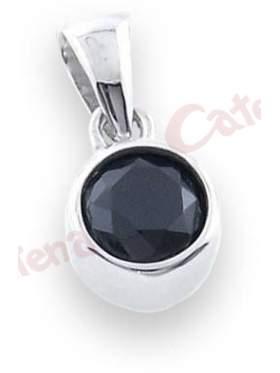 Μενταγιόν ασημένιο επιπλατινωμένο με μαύρη πέτρα ζιργκόν
