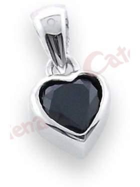 Μενταγιόν ασημένιο επιπλατινωμένο σε σχέδιο καρδιά και ζιργκόν μαύρη πέτρα