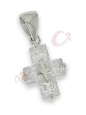Σταυρός ασημένιος, επιπλατινωμένος στολισμένος με άσπρες πέτρες ζιργκόν