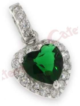 Μενταγιόν ασημένιο επιπλατινωμένο με άσπρες πέτρες ζιργκόν και πράσινη στο κέντρο σχέδιο καρδιά