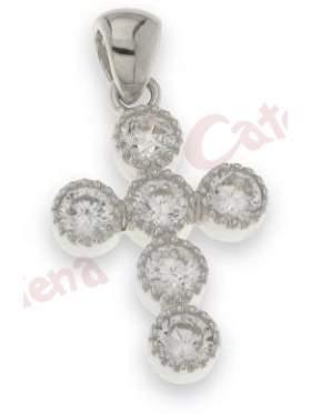 Σταυρός ασημένιος επιπλατινωμένος με άσπρες πέτρες ζιργκόν