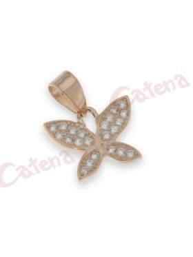 Μενταγιόν ασημένιο επιπλατινωμένο με στρογγυλές πέτρες ζιργκόν σε χρώμα ρόζ σχέδιο πεταλούδα