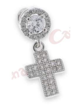 Μενταγιόν ασημένιο επιπλατινωμένο με άσπρες πέτρες ζιργκόν σε σχέδιο σταυρό