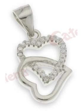 Μενταγιόν ασημένιο επιπλατινωμένο με άσπρες πέτρες ζιργκόν σε σχέδιο διπλή καρδιά